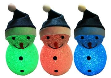 "2 x COLOUR CHANGING SNOWMEN 7"" (177mm) TALL battery christmas decoration"